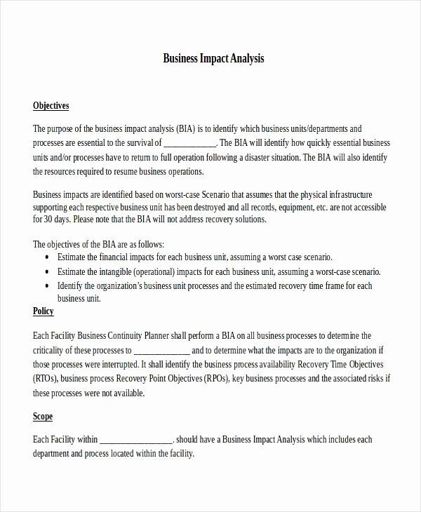 Business Impact Analysis Template Best Of Impact Analysis Template 11 Free Word Pdf Documents