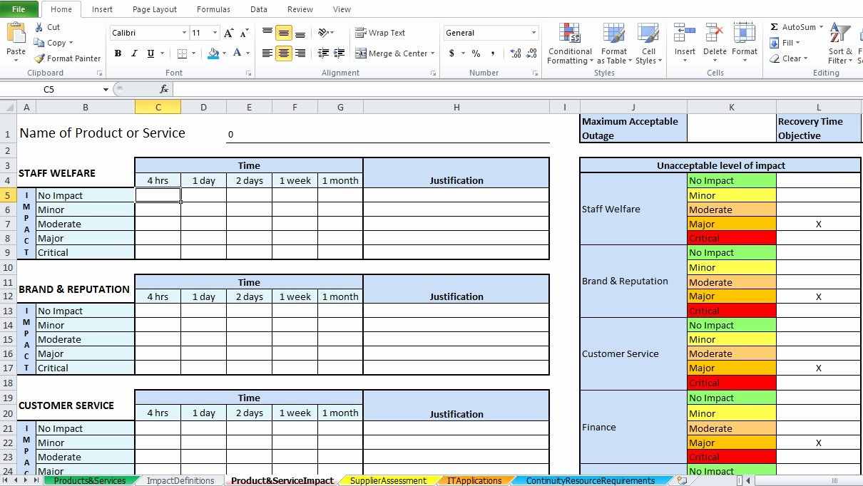 Business Impact Analysis Template Fresh Business Impact Analysis Template Excel Excel Tmp