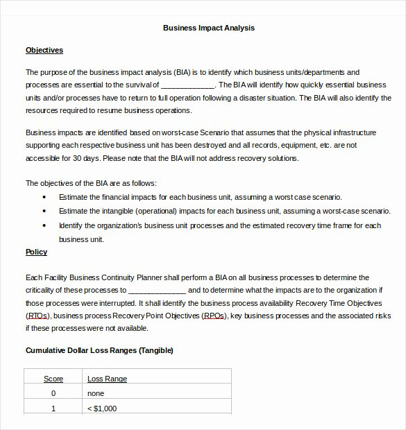 Business Impact Analysis Template Fresh Business Impact Analysis Templates – 9 Free Word Pdf