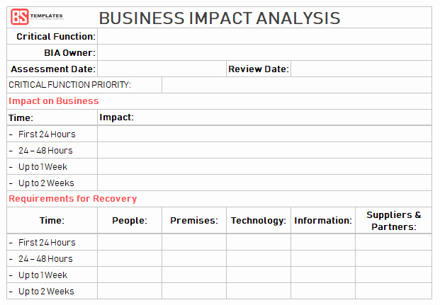 Business Impact Analysis Template Unique Business Impact Analysis [bia] Steps Excel Templates