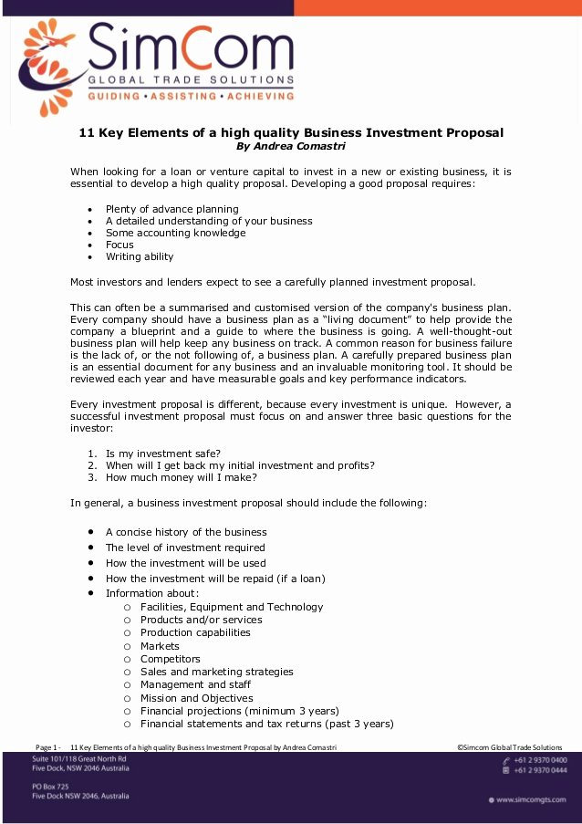 Business Investment Proposal Template Awesome 11 Key Elements Of A High Quality Business Investment Proposal