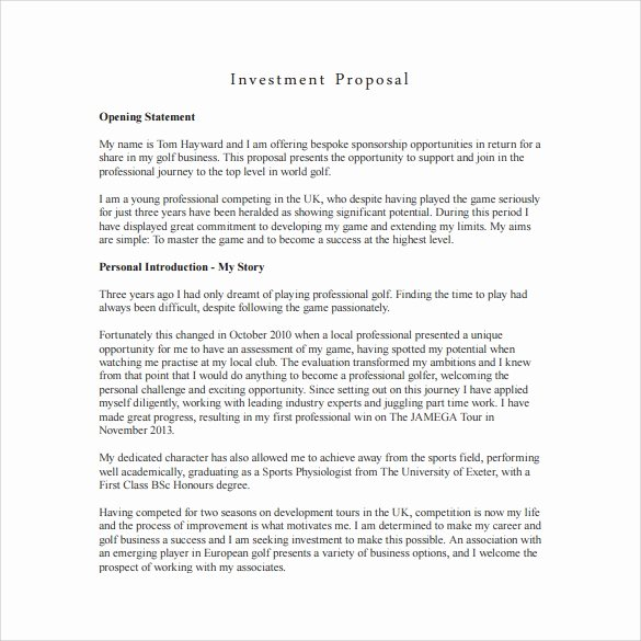 Business Investment Proposal Template Awesome 18 Investment Proposal Samples