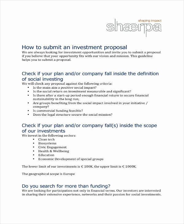 Business Investment Proposal Template Fresh 9 Small Business Investment Proposal Samples & Templates