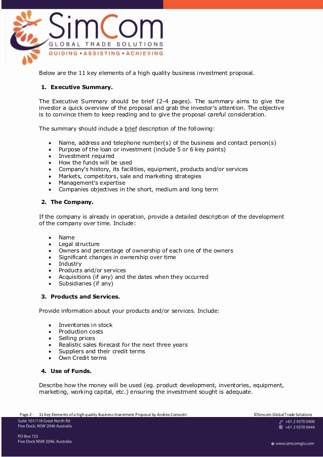 Business Investment Proposal Template Inspirational 11 Key Elements Of A High Quality Business Investment Proposal