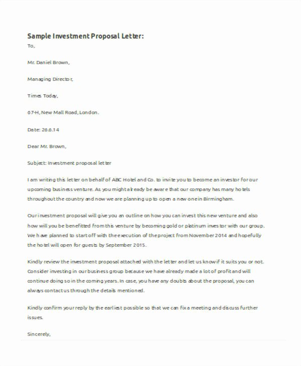 Business Investment Proposal Template Lovely 31 Business Proposal formats