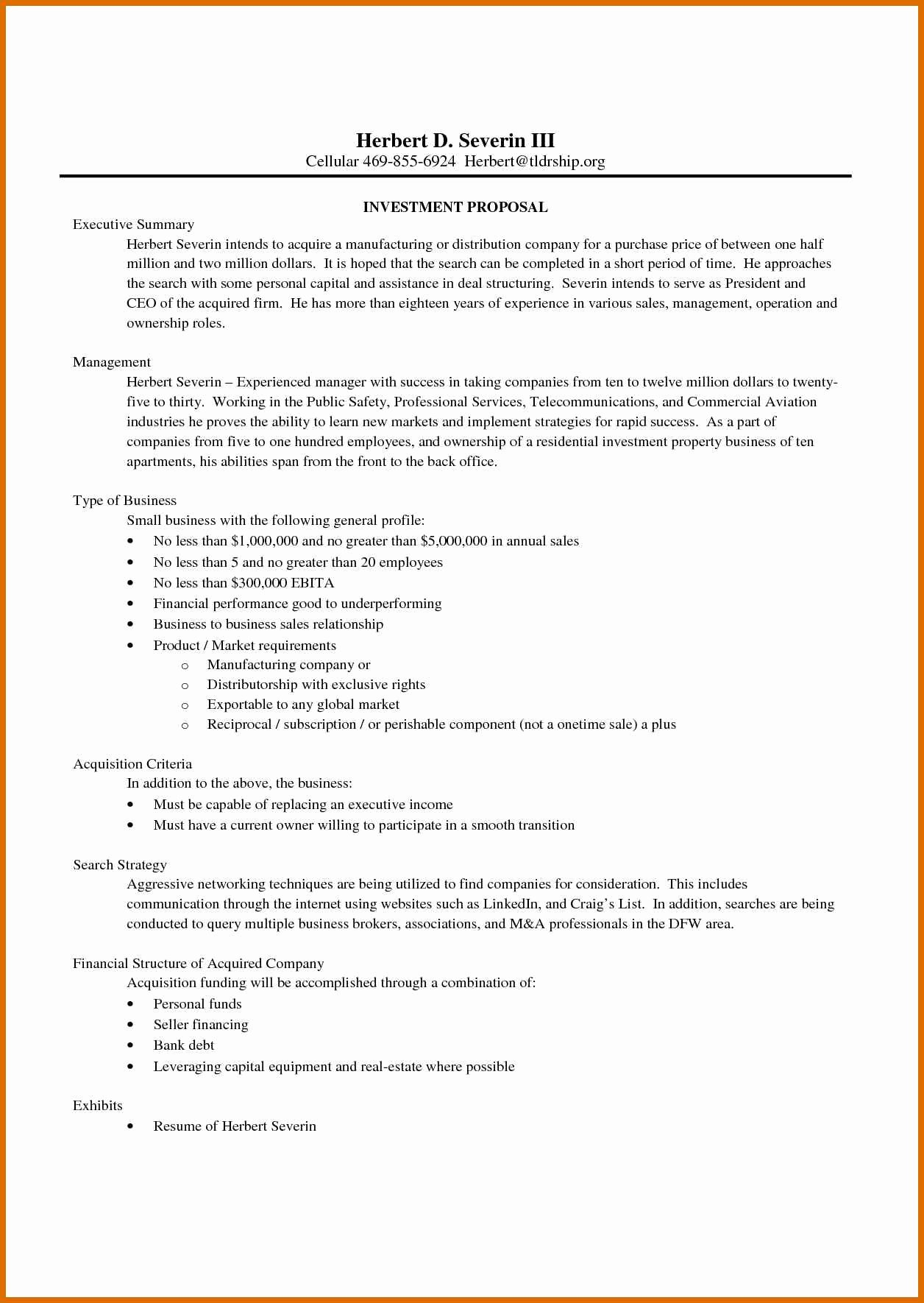 Business Investment Proposal Template Lovely 6 7 Investor Proposal Template
