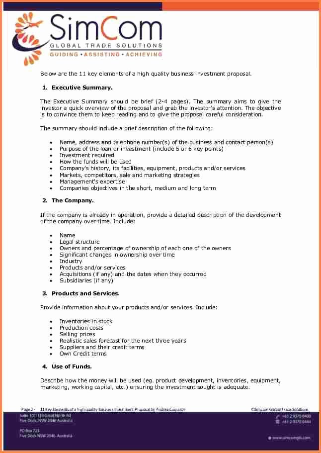 Business Investment Proposal Template Unique 4 Business Investment Proposal Template