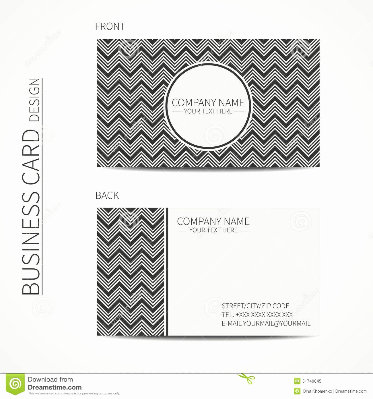 Business Line Card Template Fresh Geometric Monochrome Business Card Template with Vector
