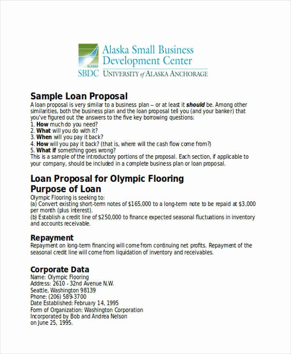 Business Loan Proposal Template Fresh 31 Business Proposal formats