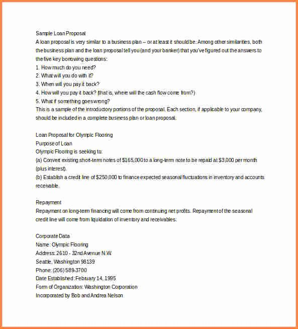 Business Loan Proposal Template Fresh 5 Business Proposal Template Word