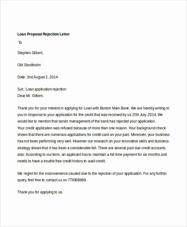 Business Loan Proposal Template Fresh 8 Proposal Rejection Letter Templates 7 Free Word Pdf