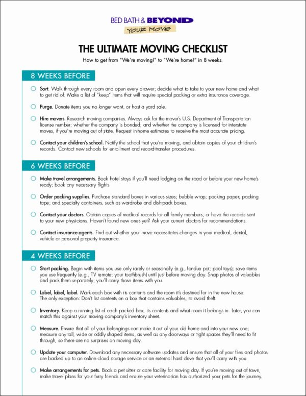 Business Moving Checklist Template Best Of 12 Moving Checklist Samples & Templates