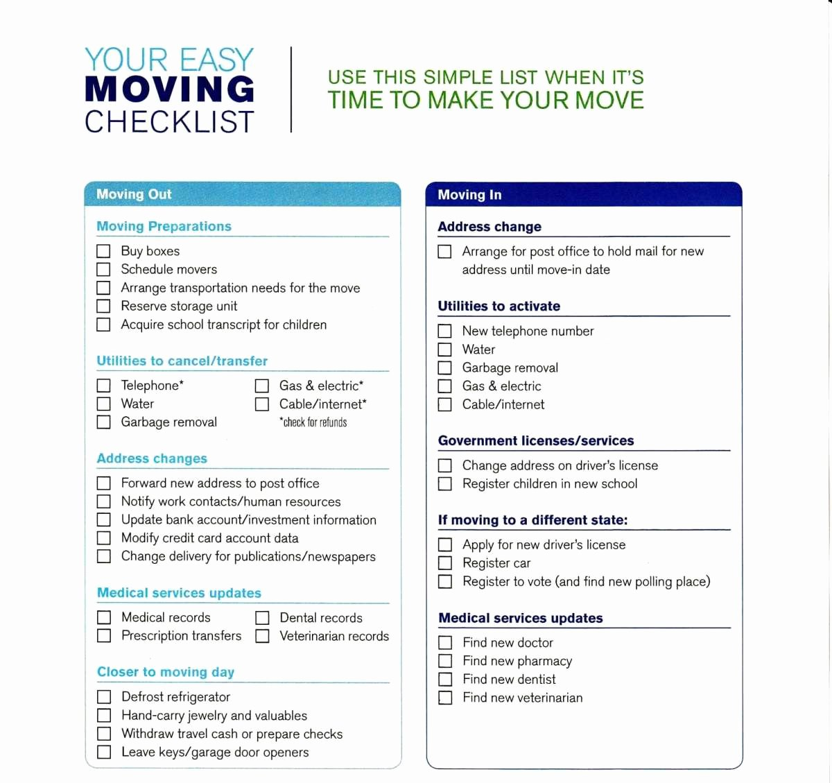Business Moving Checklist Template Elegant 5 Moving Checklist Templates – Word Templates