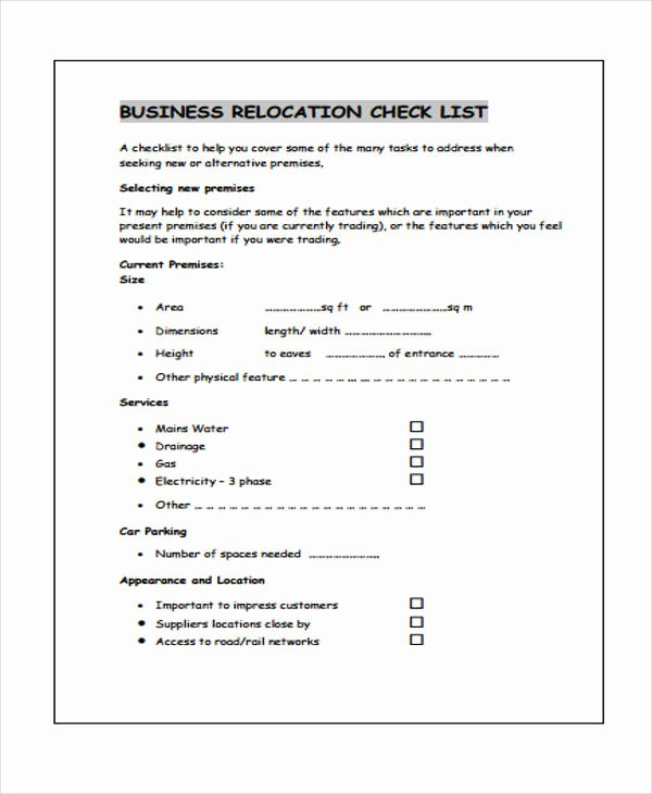Business Moving Checklist Template Elegant Business Checklist Templates 10 Free Word Pdf format