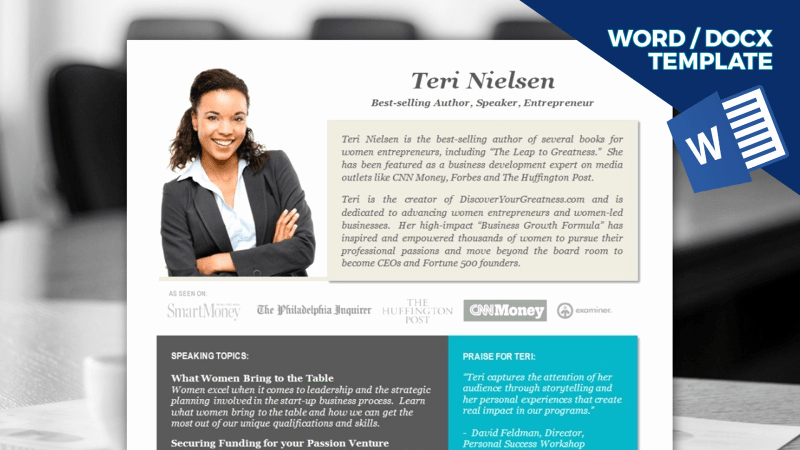 Business One Sheet Template Awesome Pro Speaker E Sheet Template [download] Word Fice365
