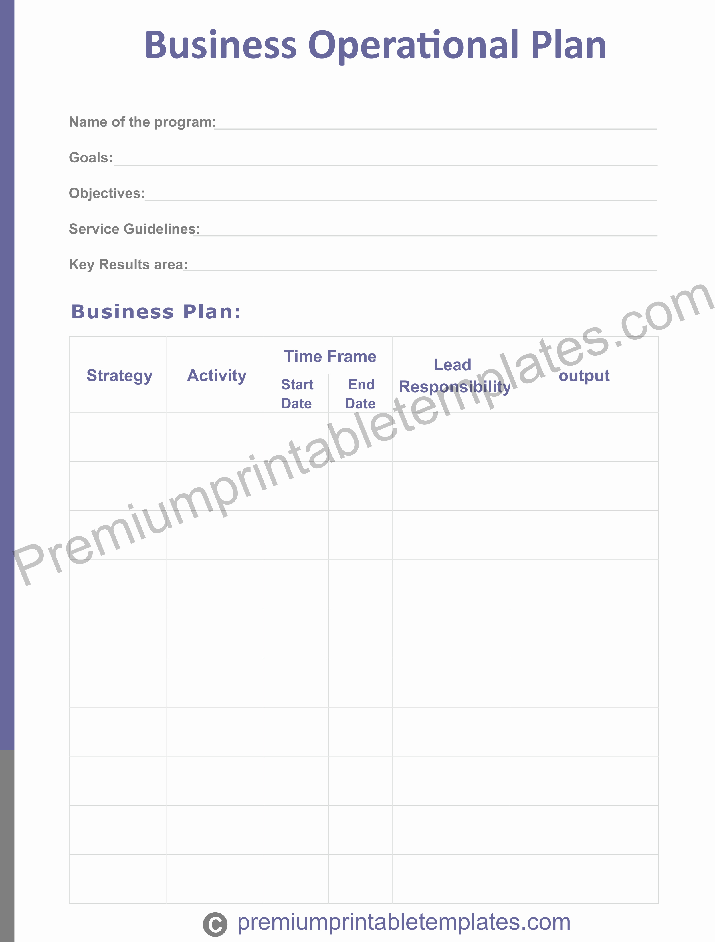 Business Operational Plan Template Inspirational Business Operational Plan Templates – Premium Printable
