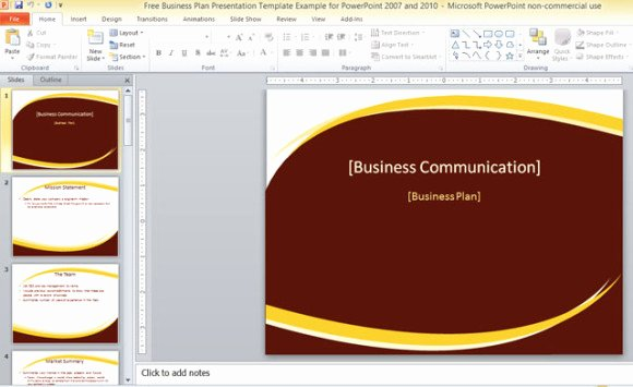 Business Plan Powerpoint Template New Free Business Plan Presentation Template for Powerpoint