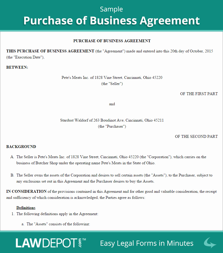 Business Purchase Agreement Template Awesome Free Purchase Of Business Agreement Create Download
