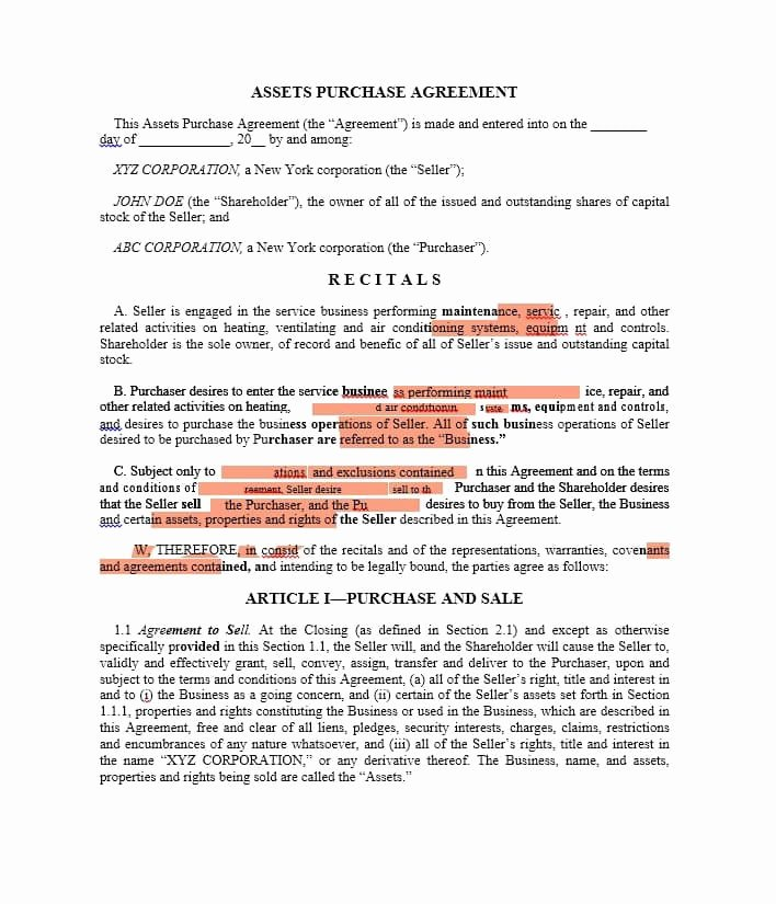 Business Purchase Agreement Template Fresh 37 Simple Purchase Agreement Templates [real Estate Business]