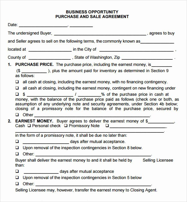 Business Purchase Agreement Template Inspirational Purchase and Sale Agreement 7 Free Pdf Download