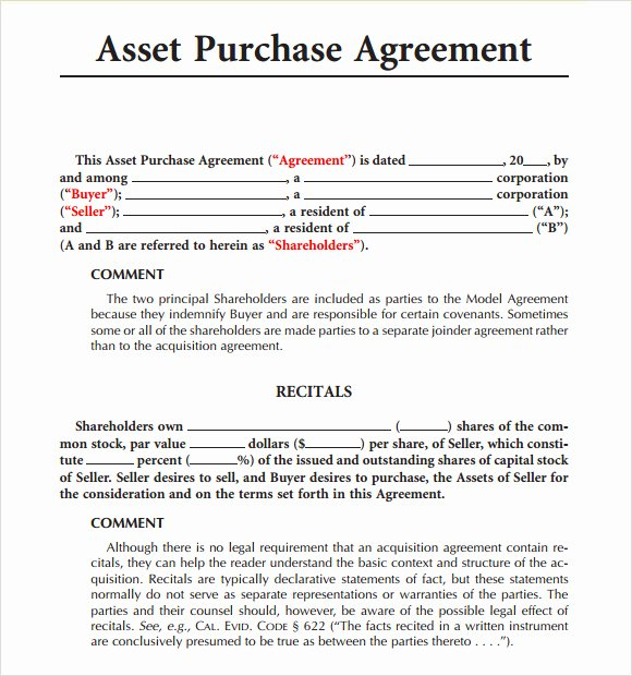 Business Purchase Agreement Template New 9 Sample asset Purchase Agreements