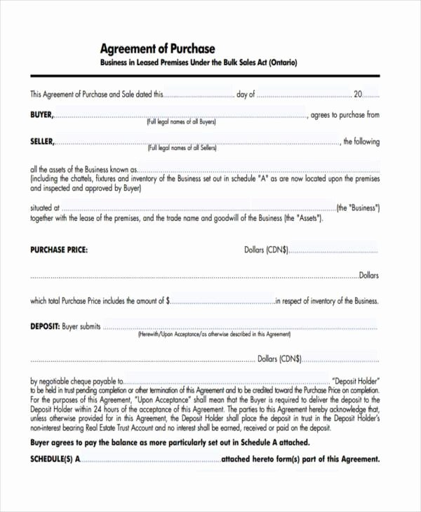 Business Purchase Agreement Template Unique 7 Business Purchase Agreement form Samples Free Sample