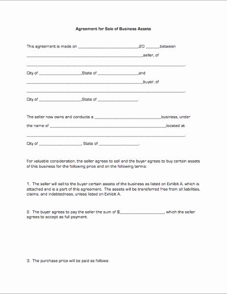 Business Sale Agreement Template Elegant Agreement Sale
