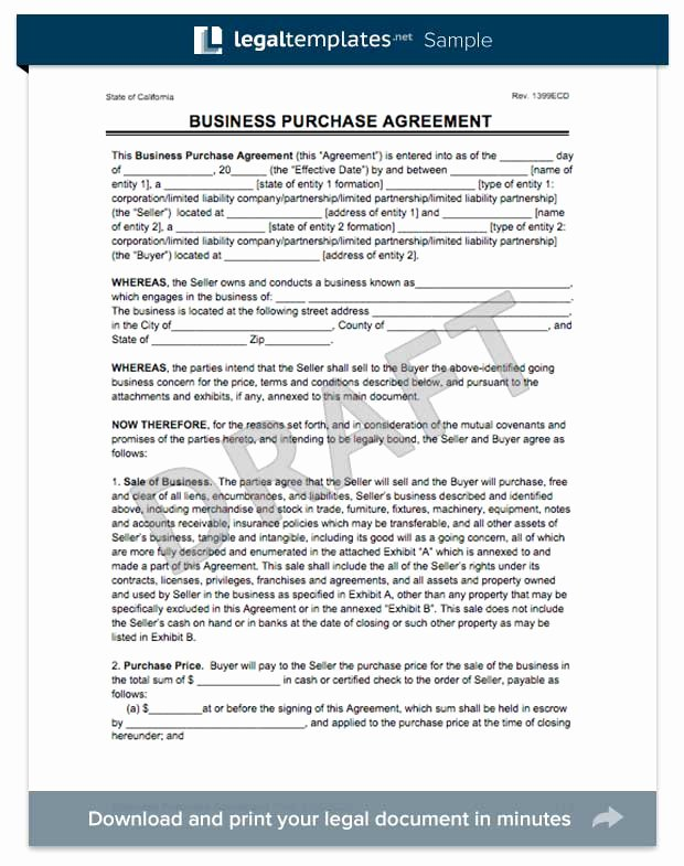 Business Sale Agreement Template Inspirational Create A Business Purchase Agreement