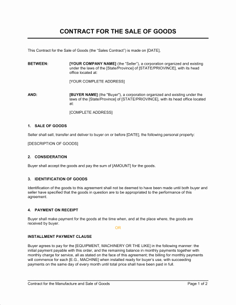 Business Sale Agreement Template Inspirational Sales Contract Templates