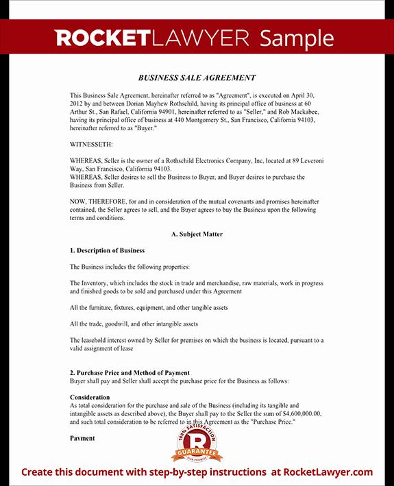 Business Sale Agreement Template Unique Business Sale Agreement Contract form with Template & Sample