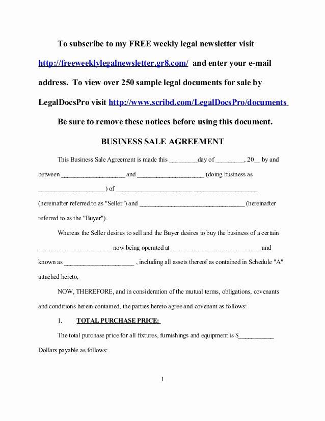 Business Sale Agreement Template Unique Sample Business Sale Agreement