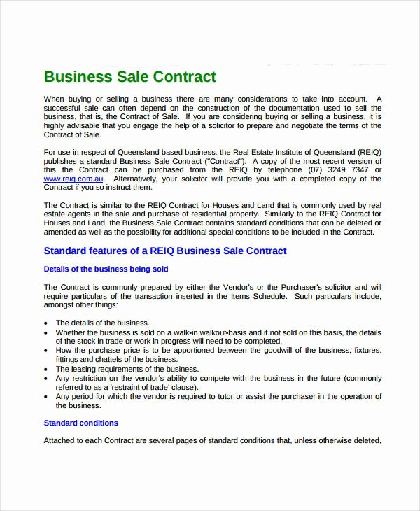 Business Sale Contract Template Luxury 15 Sales Contract Template Word Pages