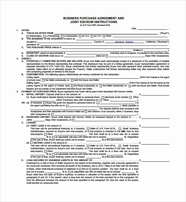 Business Sale Contract Template Unique Sample Business Sale Agreement 8 Free Documents