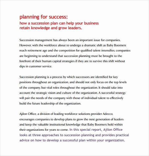 Business Succession Plan Template Inspirational 10 Succession Planning Templates