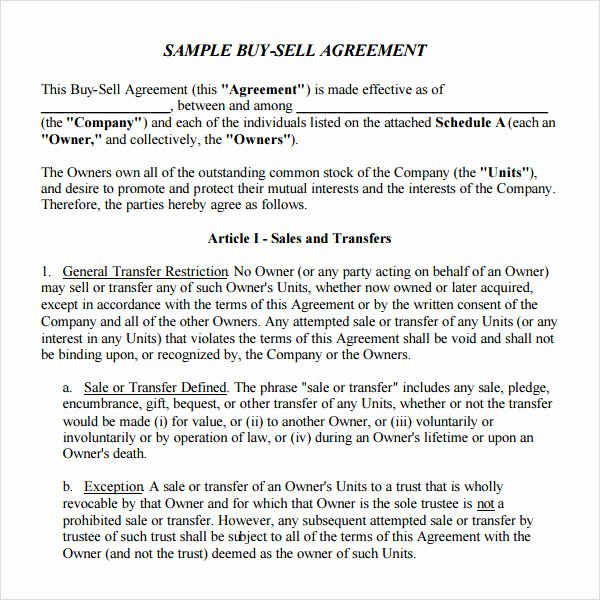 Buy Sell Agreement Template Best Of 18 Sample Buy Sell Agreement Templates Word Pdf Pages