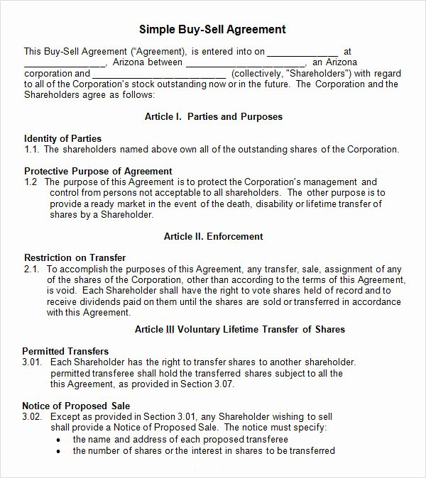 Buy Sell Agreement Template Fresh 18 Sample Buy Sell Agreement Templates Word Pdf Pages