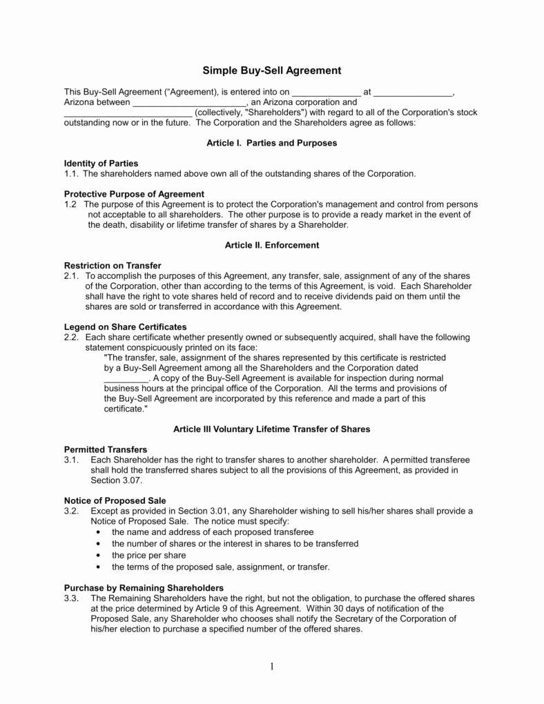 Buy Sell Agreement Template Inspirational Understanding the 3 Fundamentals Of A Buy Sell Agreement