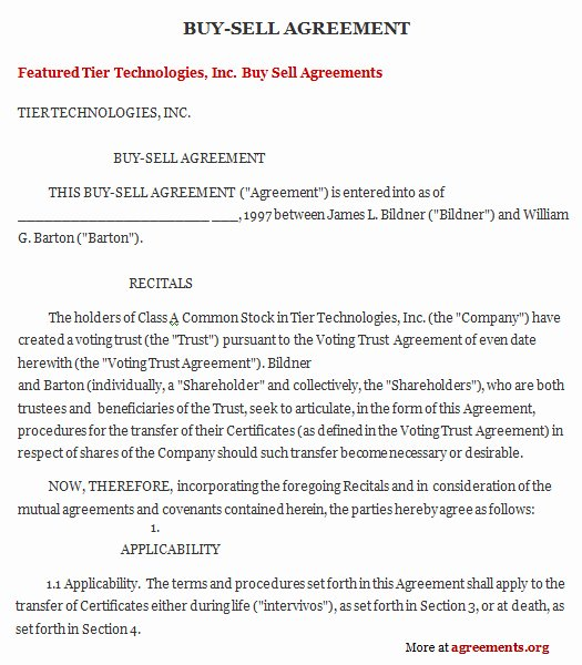 Buy Sell Agreement Template Lovely Get Sample Buy Sell Agreements