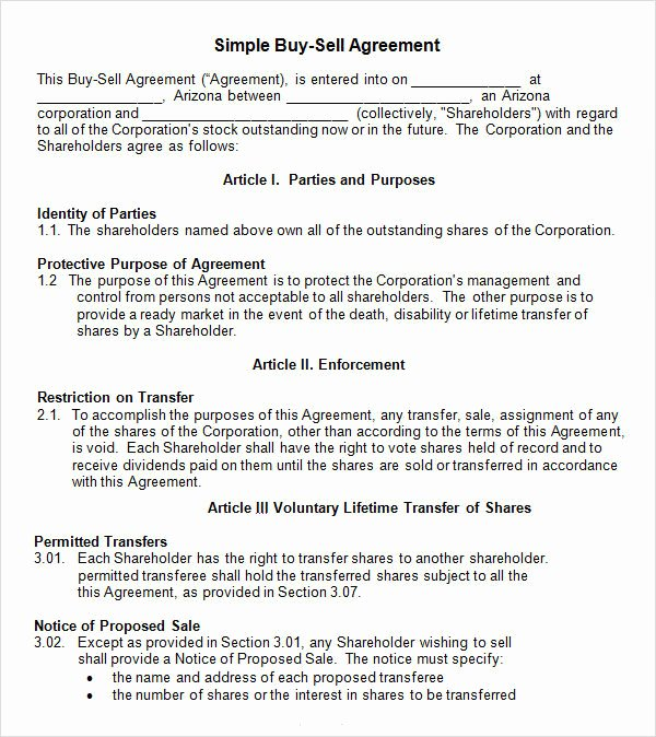 Buy Sell Agreement Template Luxury Buy and Sell Agreement Template Templates Resume
