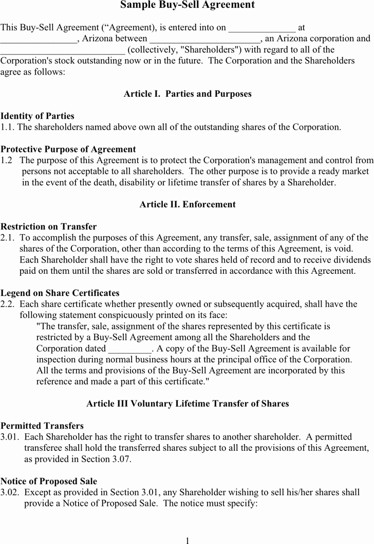Buy Sell Agreement Template New Free Sample Buy Sell Agreement Doc 57kb