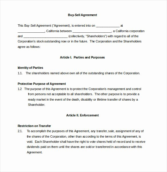 Buy Sell Agreement Template Unique 24 Buy Sell Agreement Templates Word Pdf