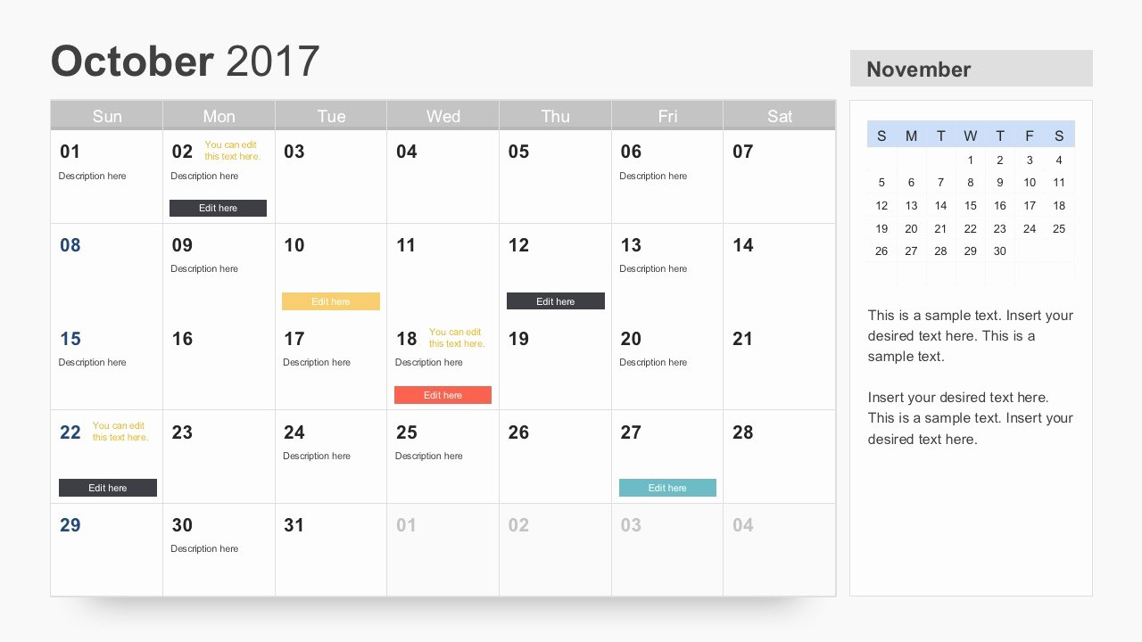 Calendar Template for Powerpoint Awesome Free Calendar 2017 Template
