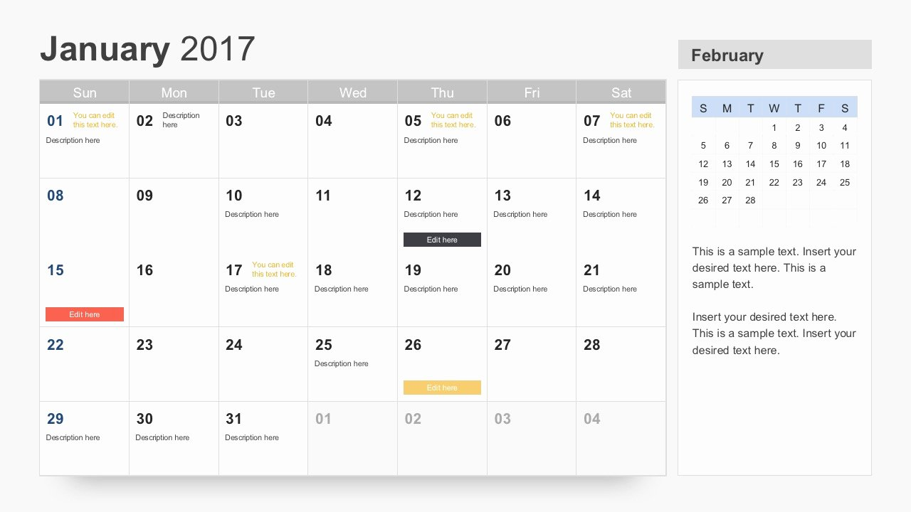 Calendar Template for Powerpoint Beautiful Free Calendar 2017 Template for Powerpoint
