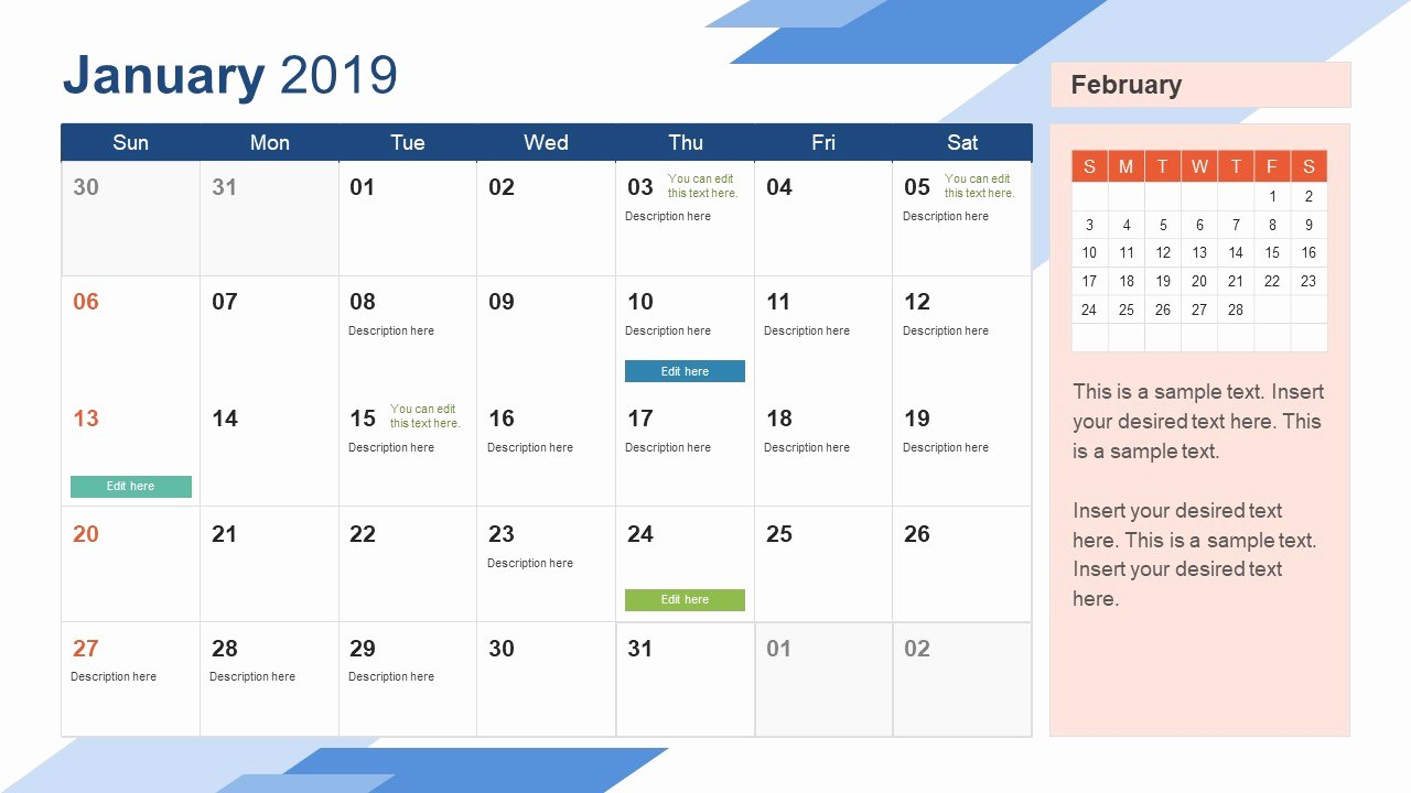 Calendar Template for Powerpoint Best Of January Powerpoint Calendar 2019 Slidemodel