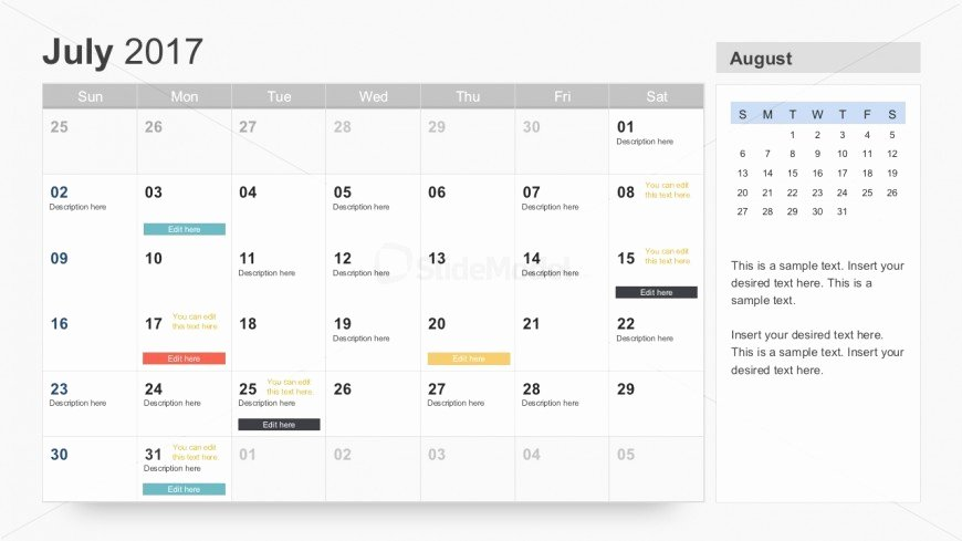 Calendar Template for Powerpoint Elegant Free Writable Calendar 2017 Templates Slidemodel