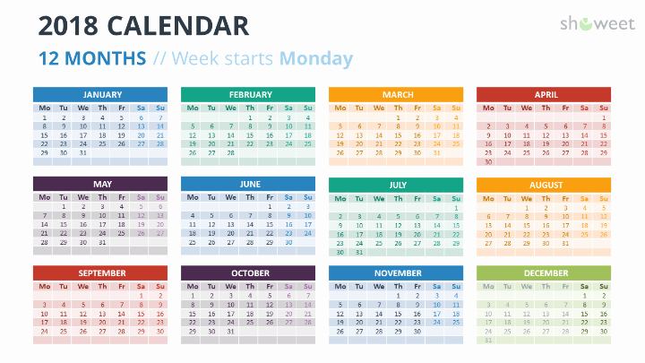Calendar Template for Powerpoint Fresh 2018 Calendar Powerpoint Templates