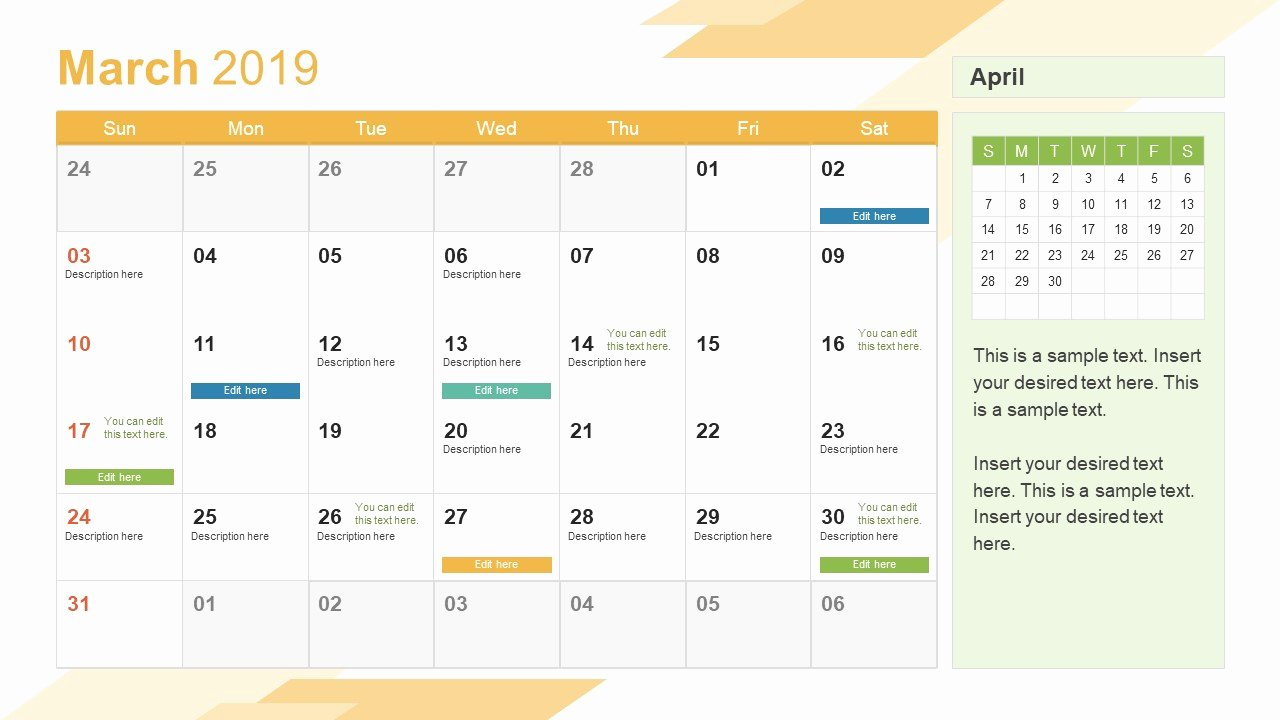 Calendar Template for Powerpoint Inspirational March Powerpoint Calendar 2019 Slidemodel