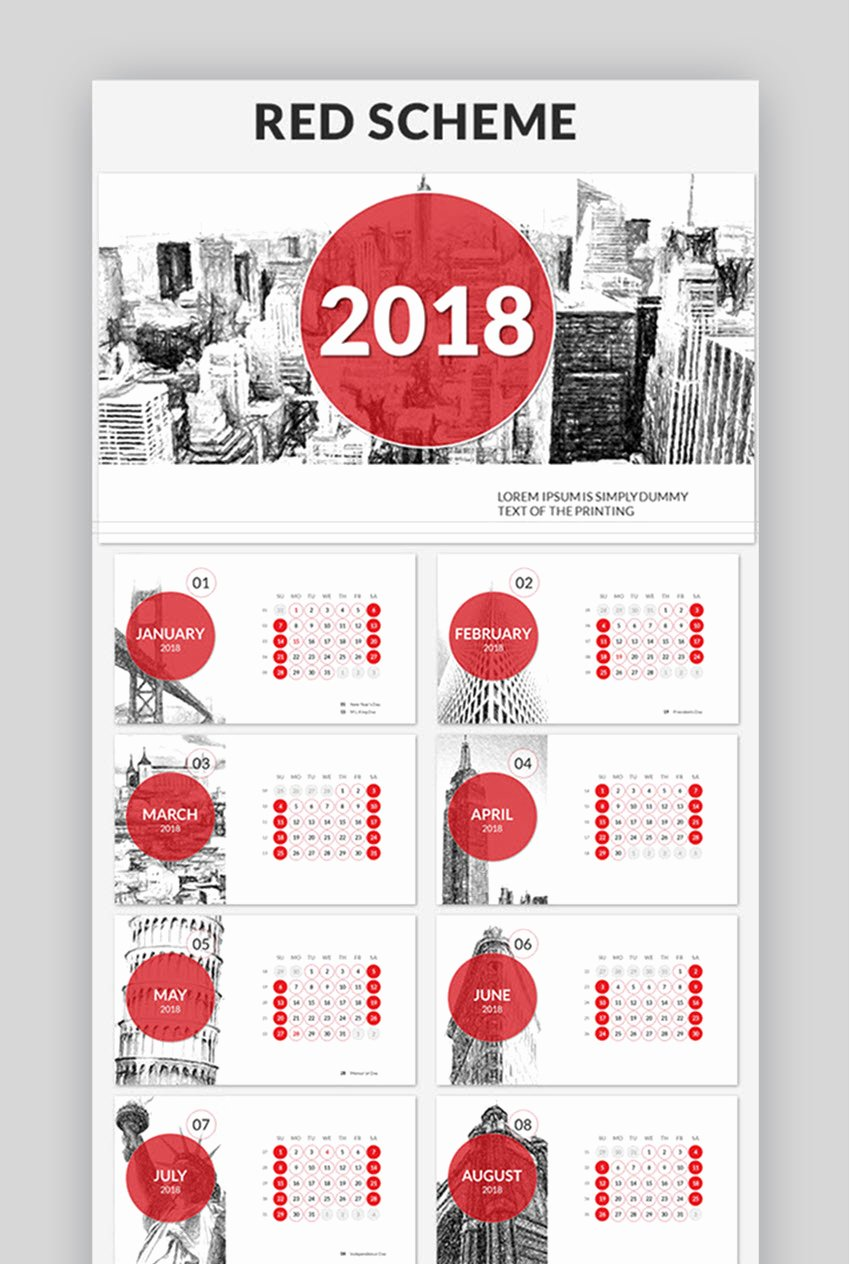 Calendar Template for Powerpoint New 18 Best Powerpoint Calendar Template Ppt Designs for 2018
