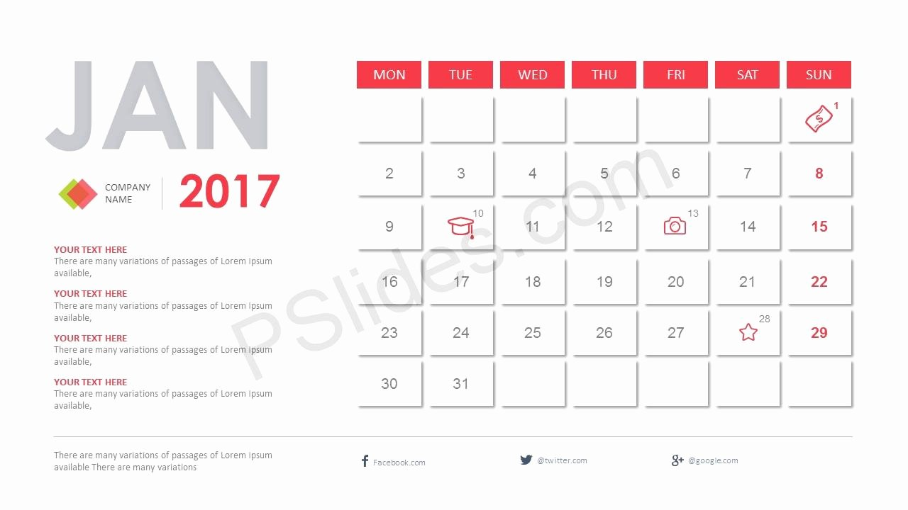 Calendar Template for Powerpoint New 2017 Calendar Powerpoint Template