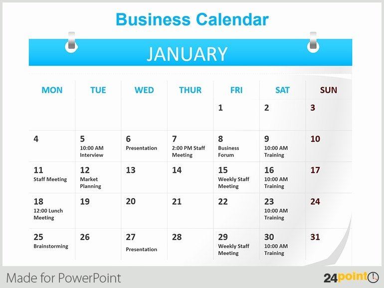 Calendar Template for Powerpoint New Presentation Calendar Template